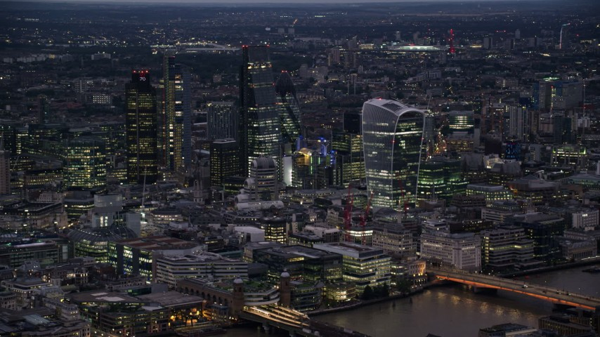 6K stock footage aerial video of skyscrapers in Central London, England, night Aerial Stock Footage | AX116_149