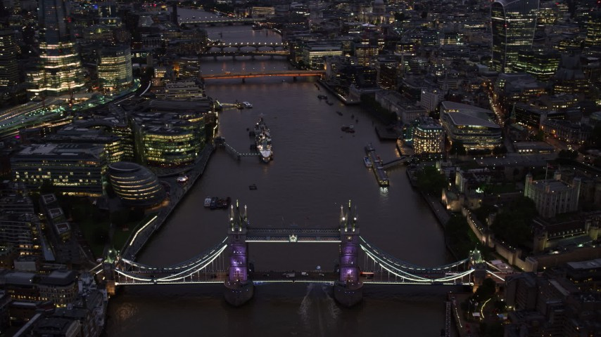 6K stock footage aerial video of orbiting Tower Bridge and River Thames in London, England, night Aerial Stock Footage | AX116_159