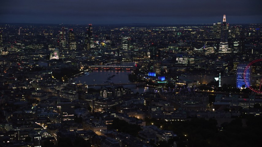 6K stock footage aerial video of cityscape and The Shard around River Thames, London, England, night Aerial Stock Footage AX116_191 | Axiom Images