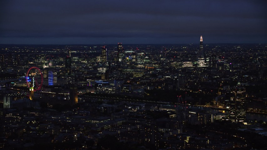 6K stock footage aerial video of Central London skyscrapers and The Shard, London, England, night Aerial Stock Footage | AX116_197