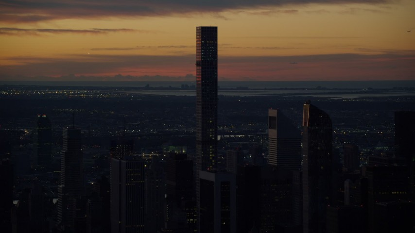 5.5K stock footage aerial video of 432 Park Avenue condo high-rise at sunrise in Midtown Manhattan, New York City Aerial Stock Footage   AX118_001E