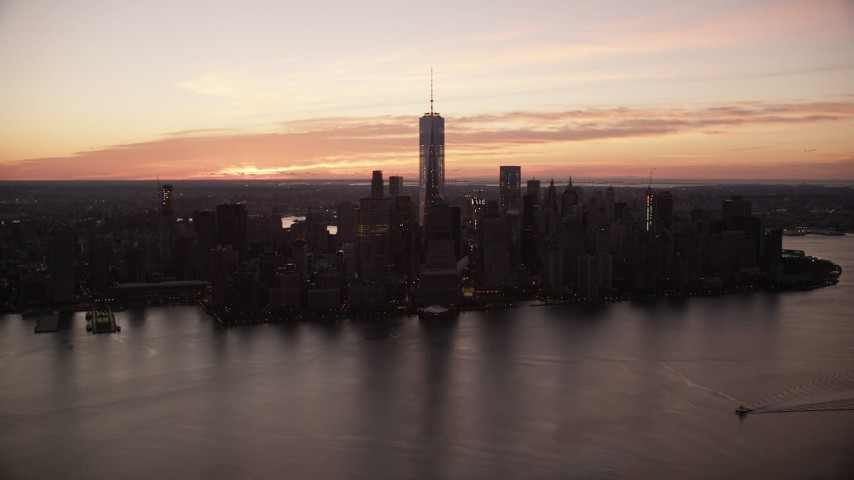 World Trade Center Skyline at Sunrise in Lower Manhattan, New York City Aerial Stock Footage | AX118_026