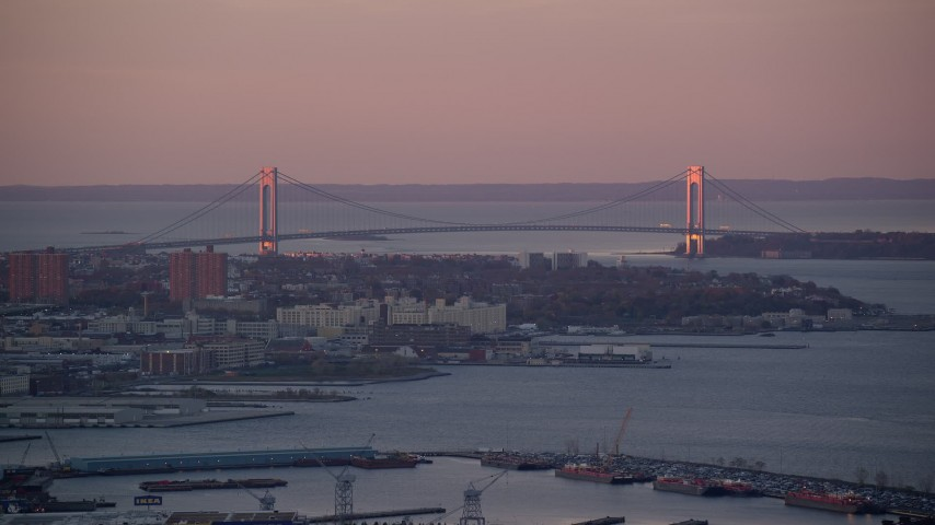 6K stock footage aerial video of the Verrazano-Narrows Bridge at sunrise, New York Aerial Stock Footage | AX118_061