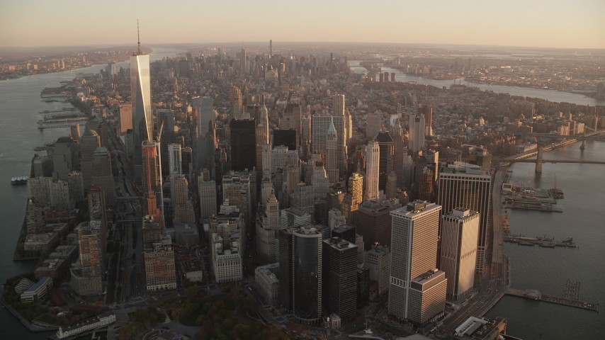 Lower and Midtown Manhattan at Sunrise, New York City Aerial Stock Footage AX118_087