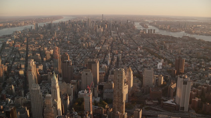 6K stock footage aerial video of Greenwich Village, East Village and Midtown at sunrise, New York City Aerial Stock Footage | AX118_090