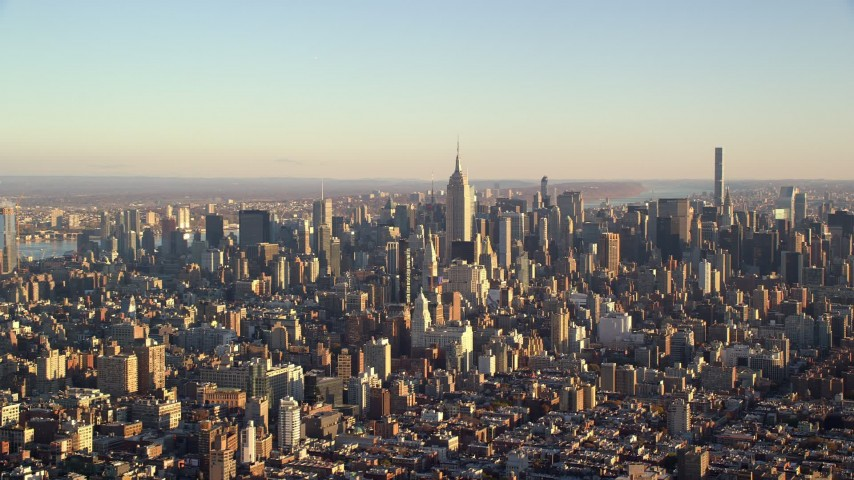 Midtown Manhattan at Sunrise in New York City Aerial Stock Footage | AX118_172