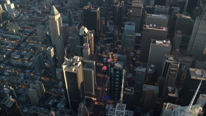 Times Square at Sunrise in New York City Aerial Stock Footage | AX118_184