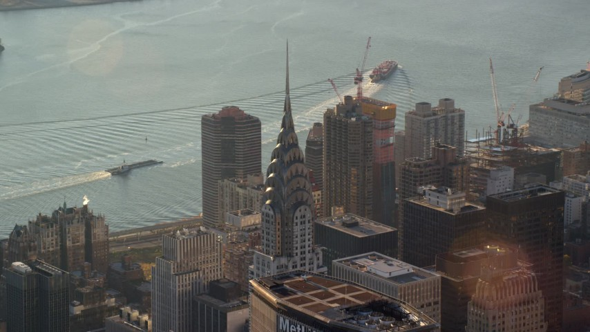 Chrysler Building at Sunrise in New York City Aerial Stock Footage   AX118_201
