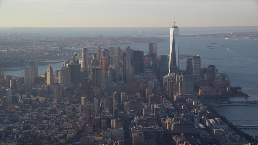 5.5K stock footage aerial video of skyscrapers in Lower Manhattan at sunrise in New York City Aerial Stock Footage   AX118_206E