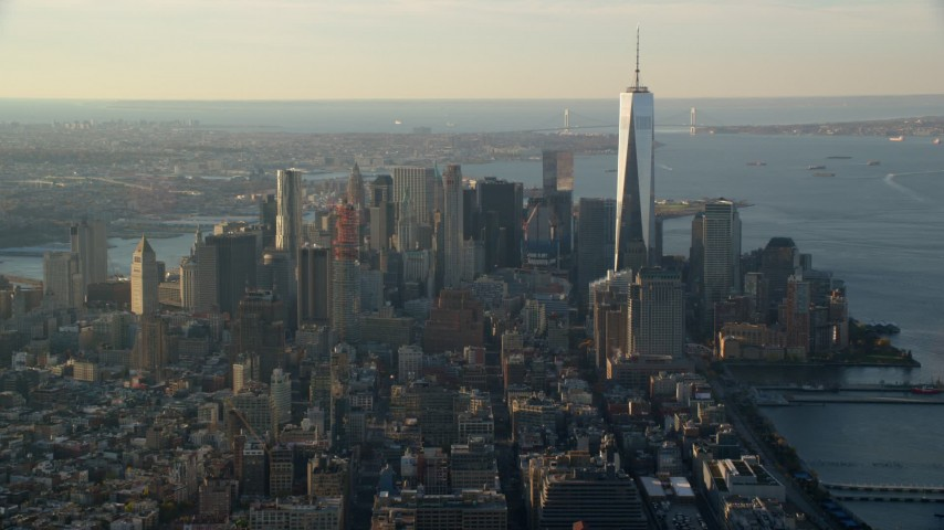 6K aerial video of Freedom Tower and Lower Manhattan at sunrise in New York City Aerial Stock Footage AX118_207