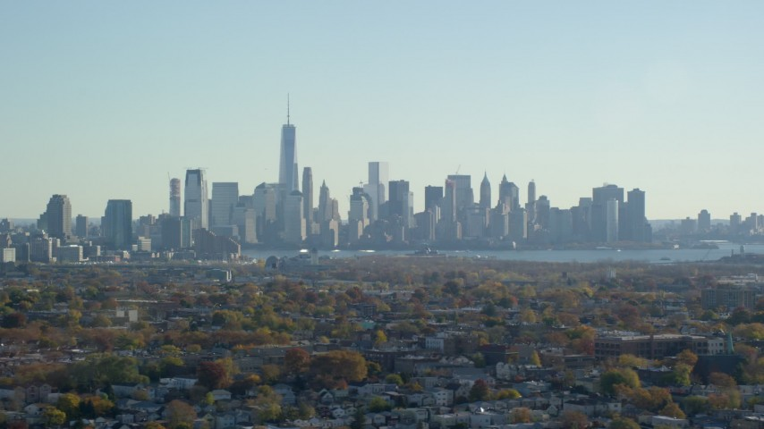 5.5K stock footage aerial video of the skyline of Lower Manhattan in Autumn, New York City Aerial Stock Footage | AX119_004E