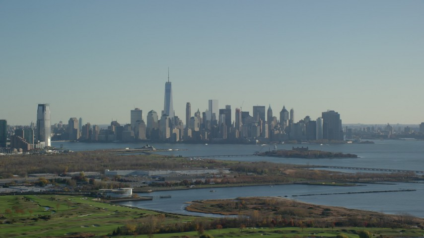 6K stock footage aerial video of the downtown skyline of Lower Manhattan in Autumn, New York City Aerial Stock Footage | AX119_008