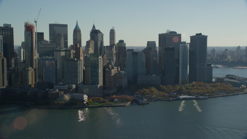 6K stock footage aerial video of Battery Park and skyscrapers in Autumn, Lower Manhattan, New York City Aerial Stock Footage | AX119_015