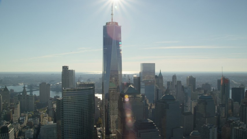 6K stock footage aerial video of orbiting One World Trade Center in Lower Manhattan, New York City Aerial Stock Footage   AX119_019
