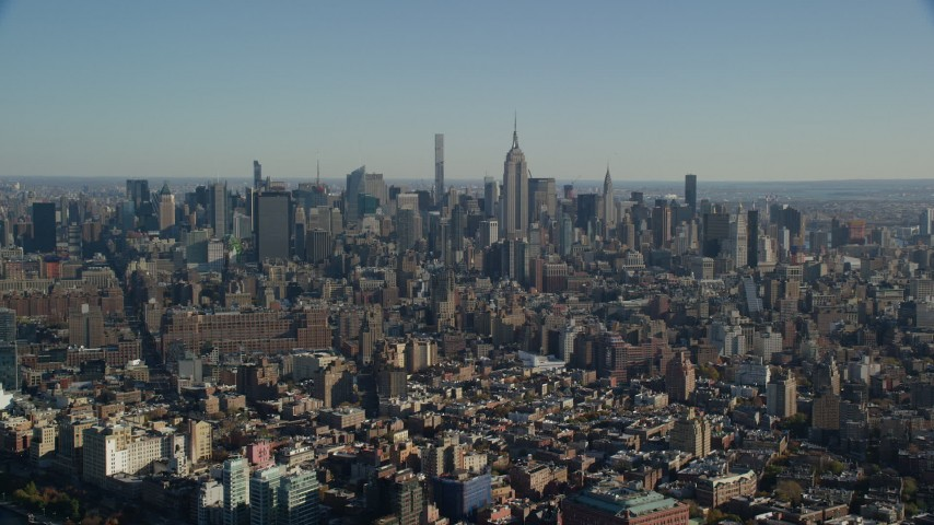 6K stock footage aerial video of a view of skyscrapers in Midtown Manhattan, New York City Aerial Stock Footage | AX119_020