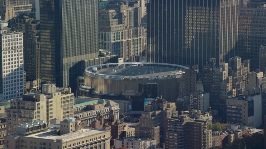 Madison Square Garden Arena in Midtown, New York City Aerial Stock Footage | AX119_025