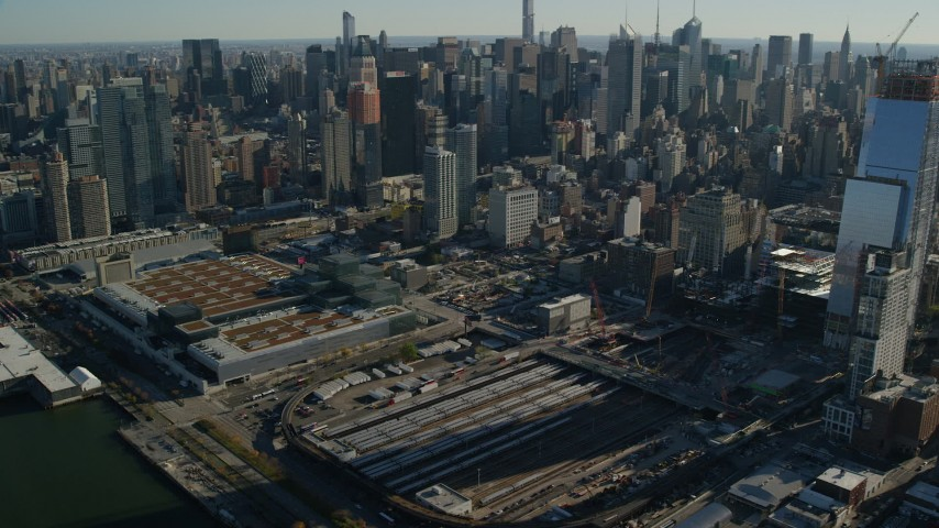 Convention Center and West Side Yard in Hell's Kitchen in Midtown, New York City Aerial Stock Footage | AX119_026