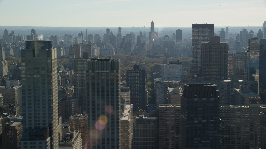 6K stock footage aerial video of high-rises on the Upper West Side in Autumn, New York City Aerial Stock Footage | AX119_032