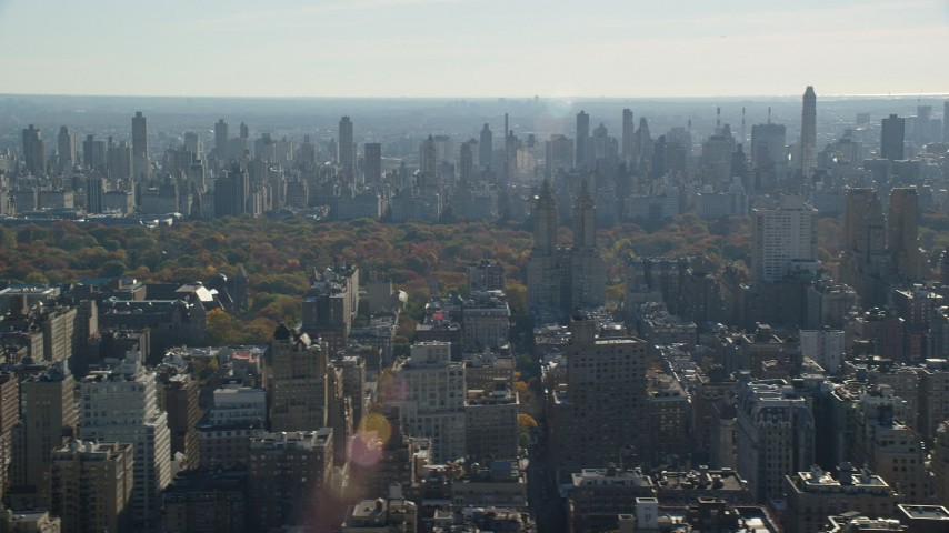 6K stock footage aerial video of a view of Central Park, high-rises on the Upper West and Upper East Side in Autumn, New York City Aerial Stock Footage | AX119_033