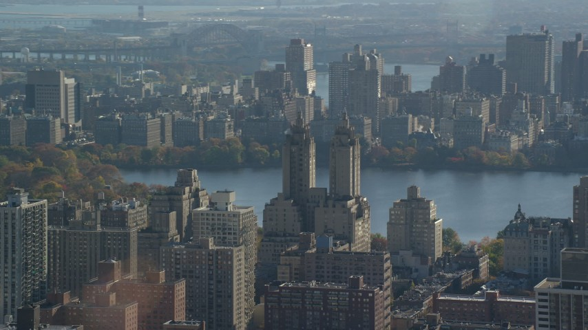 6K stock footage aerial video of the Eldorado Apartment Complex in Autumn, Upper West Side, New York City Aerial Stock Footage | AX119_035