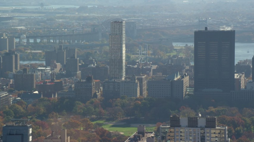 6K stock footage aerial video of Mt Sinai Hospital Buildings in Autumn, Upper East Side, New York City Aerial Stock Footage | AX119_037