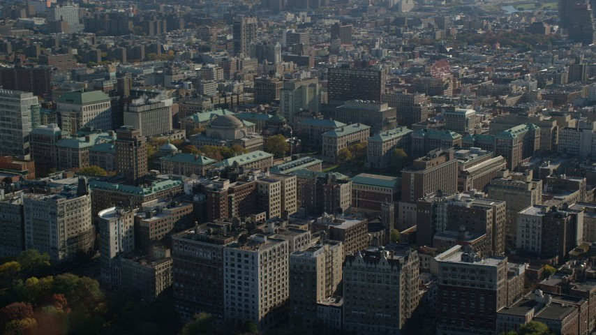 6K aerial video of Columbia University in Autumn, Morningside Heights, New York City Aerial Stock Footage AX119_038