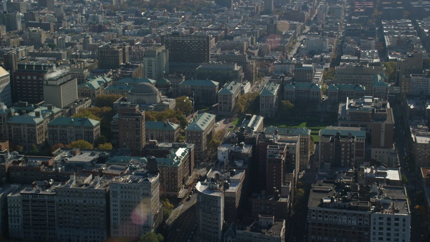 6K stock footage aerial video of orbit Columbia University in Autumn, Morningside Heights, New York City Aerial Stock Footage | AX119_039