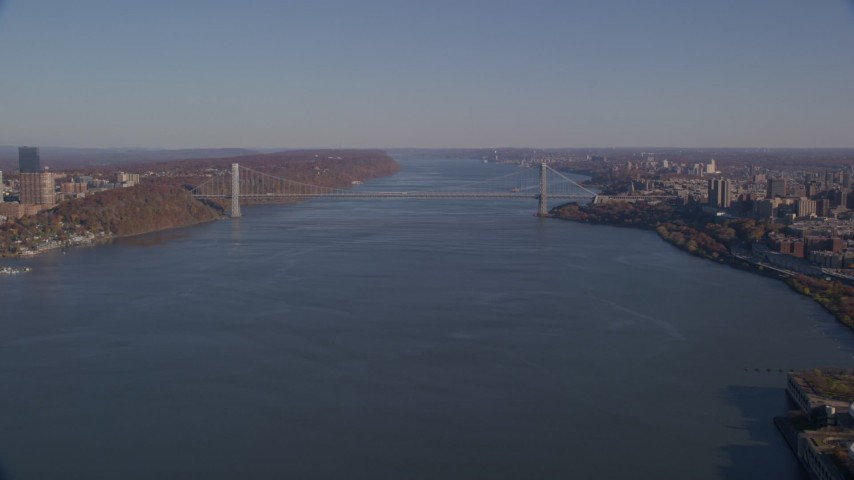5.5K stock footage aerial video approach George Washington Bridge in Autumn, New York City Aerial Stock Footage | AX119_040