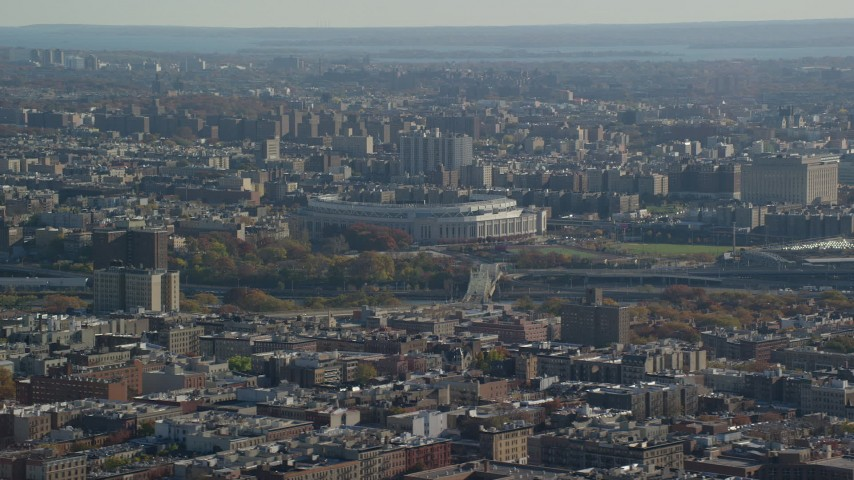 6K stock footage aerial video of Yankee Baseball Stadium in Autumn, The Bronx, New York City Aerial Stock Footage | AX119_041