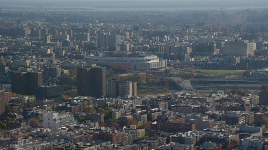 6K stock footage aerial video of the Yankee Stadium baseball field in Autumn, The Bronx, New York City Aerial Stock Footage | AX119_042