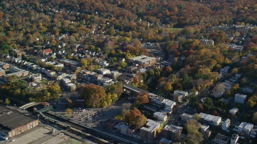 6K stock footage aerial video of the small town of Hastings on Hudson, New York, in Autumn Aerial Stock Footage | AX119_076