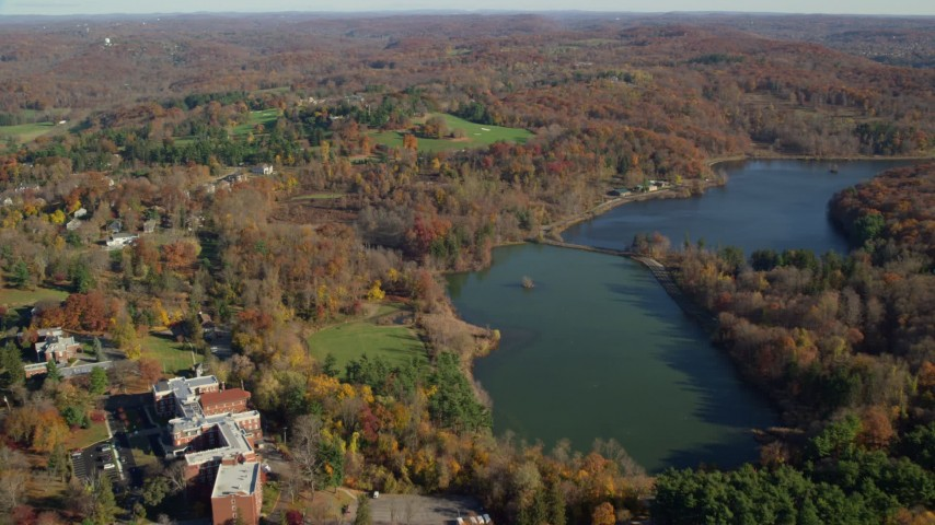 6K stock footage aerial video of approaching historic Kykuit Estate in Autumn, Westchester County, New York Aerial Stock Footage | AX119_090
