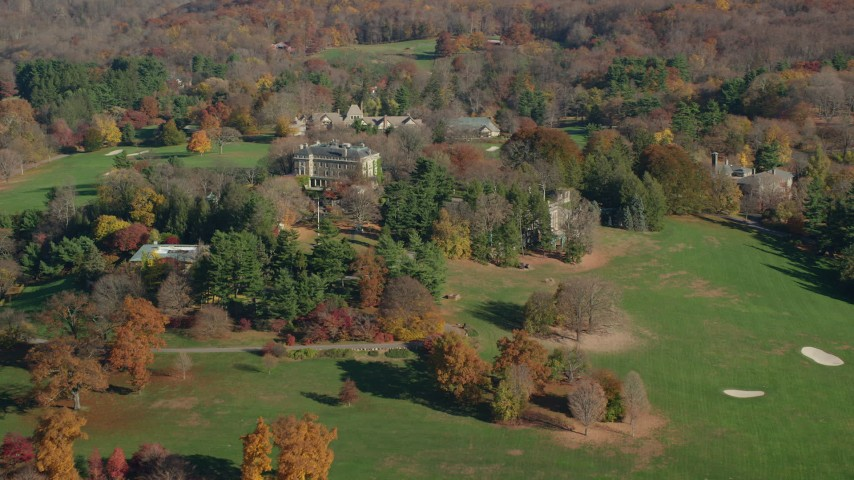 6K stock footage aerial video of historic Kykuit Estate in Autumn, Westchester County, New York Aerial Stock Footage | AX119_091