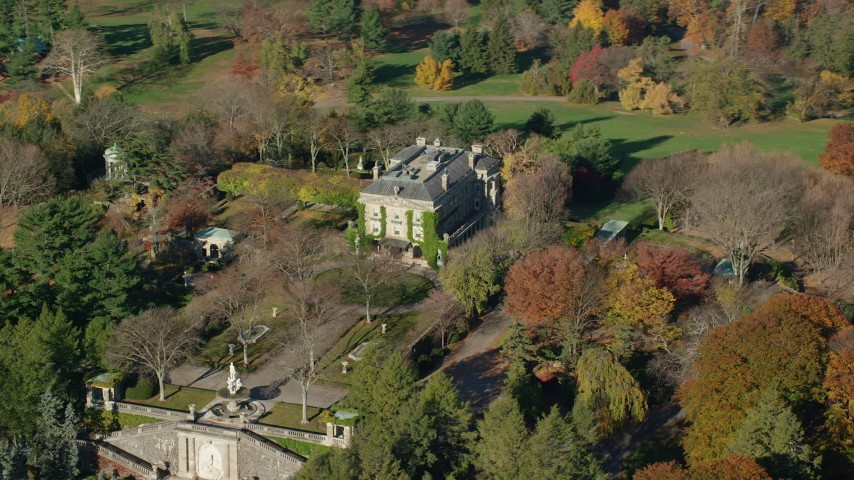 6K stock footage aerial video of orbiting the historic Kykuit Estate in Autumn, Westchester County, New York Aerial Stock Footage | AX119_092
