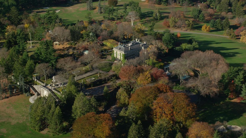 6K stock footage aerial video of orbiting the historic Kykuit Estate in Autumn, Westchester County, New York Aerial Stock Footage AX119_093 | Axiom Images