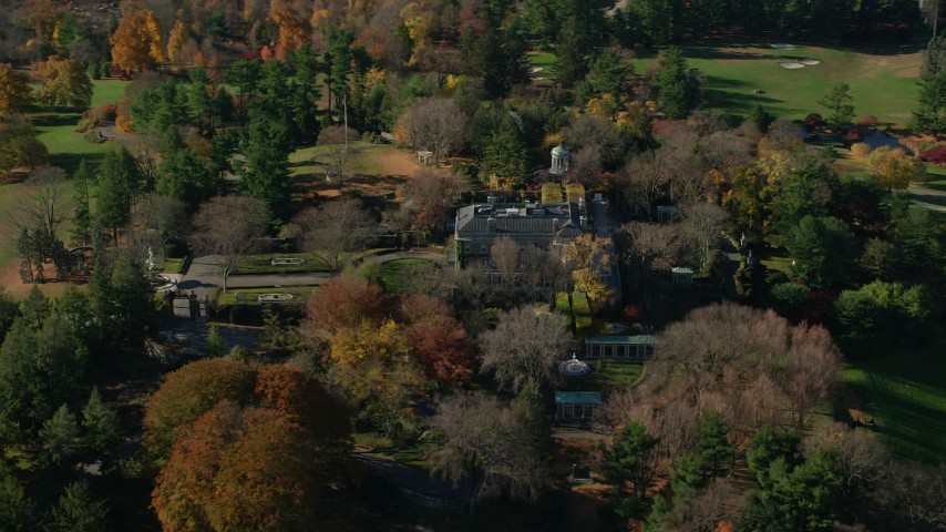 6K stock footage aerial video of an orbit of the historic Kykuit Estate in Autumn, Westchester County, New York Aerial Stock Footage | AX119_094