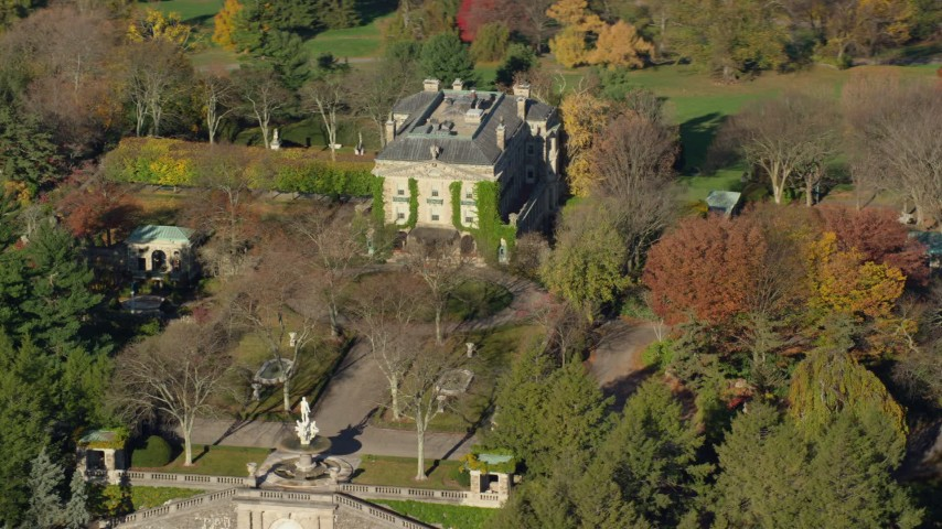 6K stock footage aerial video orbit historic Kykuit Estate in Autumn, Westchester County, New York Aerial Stock Footage | AX119_097