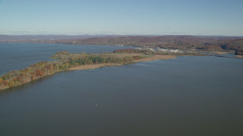 6K stock footage aerial video of approaching Croton Point Park in Autumn, Croton on Hudson, New York Aerial Stock Footage | AX119_125