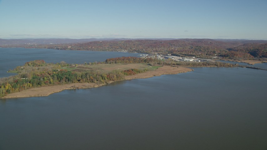 6K stock footage aerial video approach Croton Point Park in Autumn, Croton on Hudson, New York Aerial Stock Footage | AX119_126