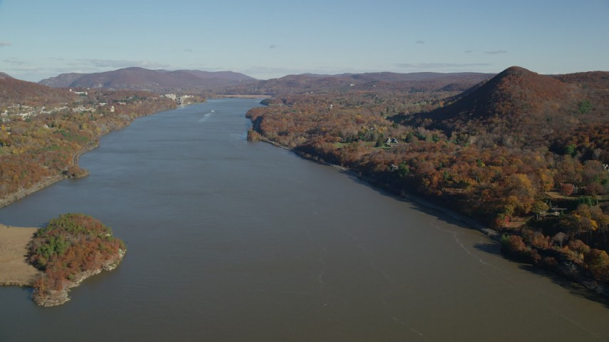 6K stock footage aerial video follow the Hudson River in Autumn, New York Aerial Stock Footage | AX119_160