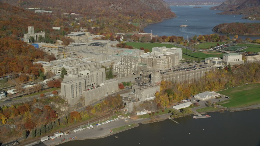 6K stock footage aerial video of West Point Military Academy in Autumn, West Point, New York Aerial Stock Footage | AX119_164