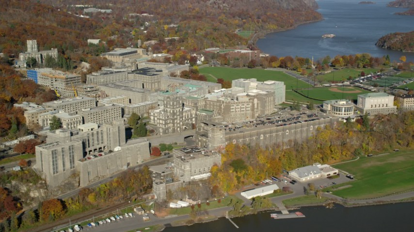 5.5K stock footage aerial video of West Point Military Academy in Autumn, West Point, New York Aerial Stock Footage | AX119_164E