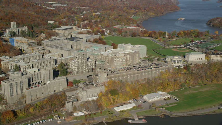 West Point Military Academy in Autumn, West Point, New York Aerial Stock Footage | AX119_165