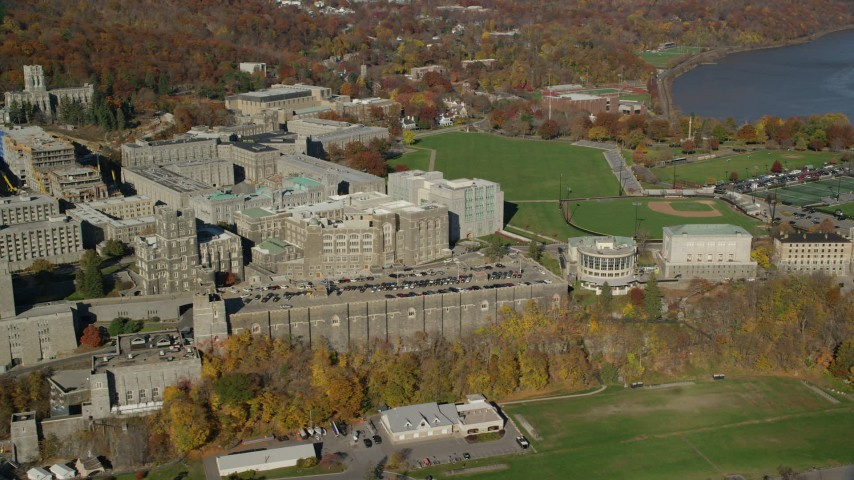 6K stock footage aerial video of West Point Military Academy in Autumn, West Point, New York Aerial Stock Footage | AX119_165