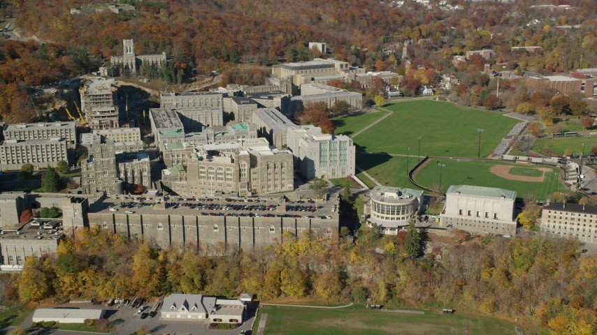 6K aerial video of an orbit of West Point Military Academy in Autumn, West Point, New York Aerial Stock Footage | AX119_166
