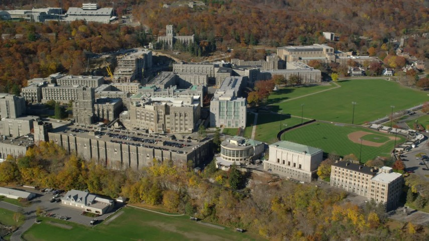 5.5K stock footage aerial video of an orbit of West Point Military Academy in Autumn, West Point, New York Aerial Stock Footage | AX119_166E