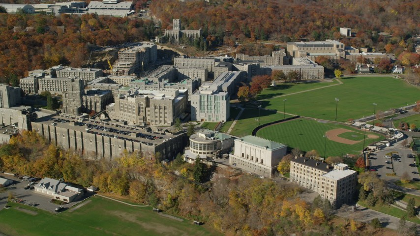 6K stock footage aerial video orbit West Point Military Academy in Autumn, West Point, New York Aerial Stock Footage | AX119_167