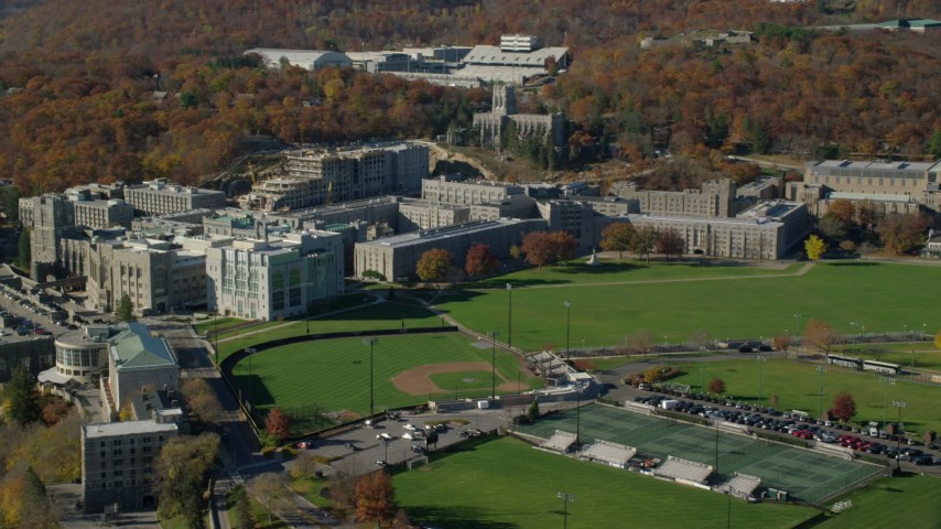 6K stock footage aerial video orbit the West Point Military Academy in Autumn, West Point, New York Aerial Stock Footage | AX119_168