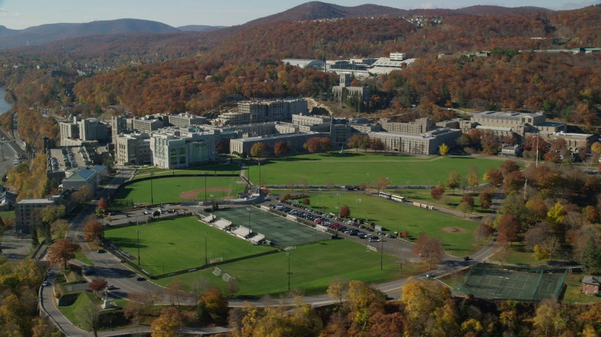 West Point Military Academy in Autumn, West Point, New York Aerial Stock Footage | AX119_169