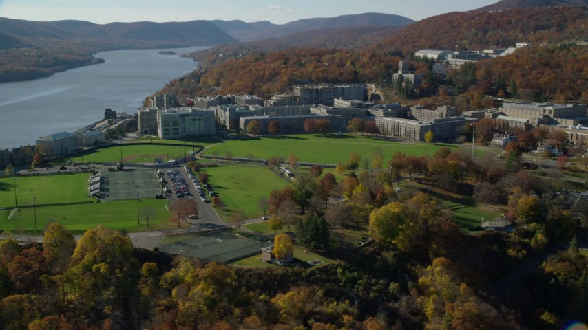 5.5K stock footage aerial video of circling West Point Military Academy in Autumn, West Point, New York Aerial Stock Footage | AX119_169E